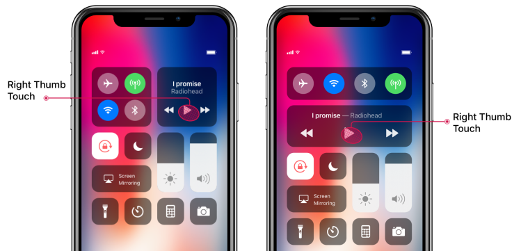 Left: iOS 11/12 - Right: Concept Solution 2