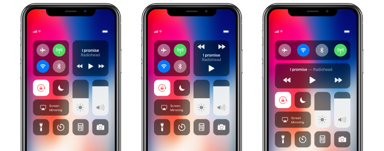 Left: iOS 11/12 - Middle: Concept 1 - Right: Concept 2